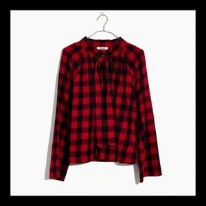 NWT MADEWELL TIENECK PLAID BLOUSE SIZE EXTRA SMALL